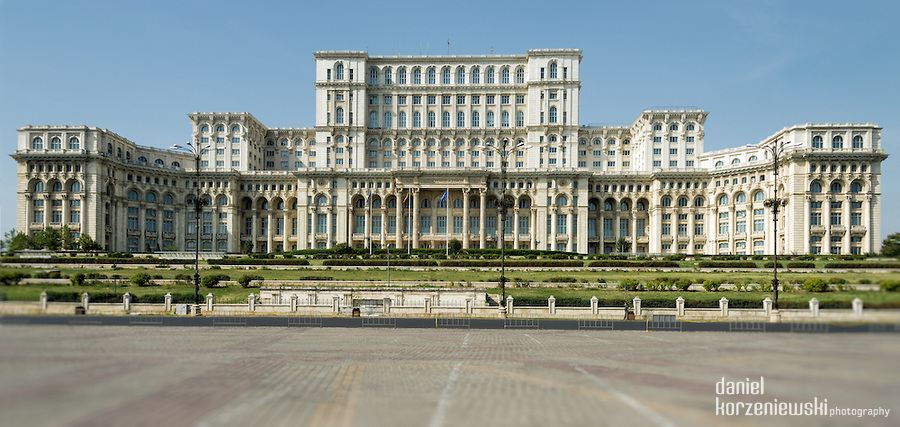 Facade of the Palace of Parliament in Bucharest